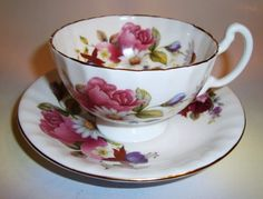 English Bone China Tea Cups | Pretty Floral Harleigh English Bone China Tea Cup and Saucer Set