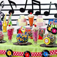 It's a Sock Hop Candy Shoppe! This candy buffet will be everyone's main squeeze at your '50s theme party. Click to browse our candy buffet ideas gallery!
