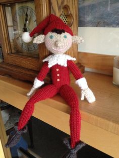 This is my 'Elf on the Shelf' He is knitted from an Alan Dart pattern that was featured in Simple Knitting, using some lovely Drops yarn. My children have named him Bob.