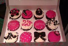 Glam girl birthday cupcakes. Chocolate and vanilla sponge with handmade pink / black decorations topped with edible gems and pearls