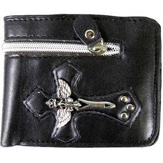 Black Skull Wings & Dagger Cross Leather Bi Fold Biker Wallet  http://bikeraa.com/black-skull-wings-dagger-cross-leather-bi-fold-biker-wallet/