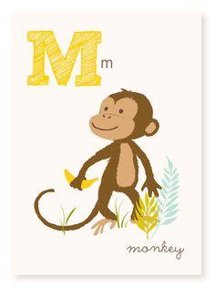 M is for Monkey - 5x7 art print - nursery art for children