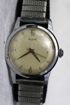 93a4ed04003 GOOD-Vintage Elgin self-wind 17 jewels-Calibre 678 men watch-1950s