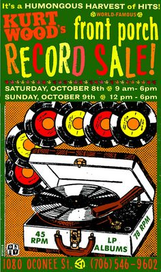 Record Sale - vintage cartoon ad for a record store sale.