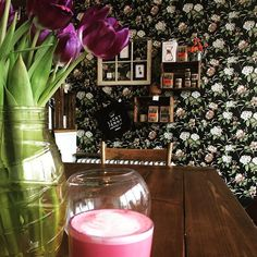 does wallpaper and beet lattes right 🙏🙌 . Lucky Penny, Latte Art, Coffee Shops, Beets, Table Decorations, Wallpaper, Instagram Posts, Home Decor, Decoration Home