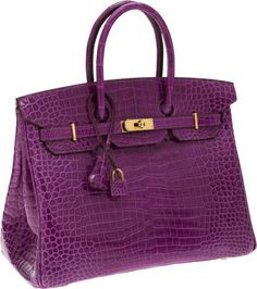 """Hermes Extremely Rare 35cm Shiny Violet Porosus Crocodile Birkin Bag with Gold Hardware.Pristine Condition;14"""" Width x 10"""" Height x 7"""" Depth.Photo Heritage Auctions"""