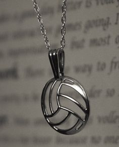 Silver Volleyball Necklace Custom Designed and handcrafted in the US! This 92.5 silver wont tarnish!