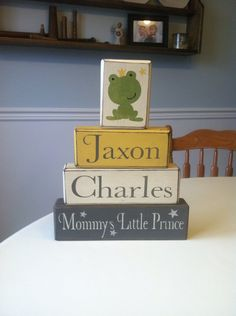 Personalized painted wood blocks distressed country rustic baby personalized baby gift nursery baby shower little prince baby name custom name rustic country decor distressed negle Gallery