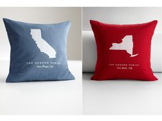 Personalize these throw pillows from Red Envelope with your choice of 50 state silhouettes, two sizes, and five colors. #GoodHousekeeping #GiftIdeas