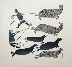Hunters on Sea Ice (1967) by Kiakshuk, Inuit artist (CD1967-06)