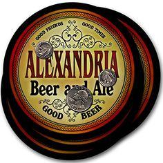 Alexandria Beer & Ale - 4 pack Drink Coasters ZuWEE…