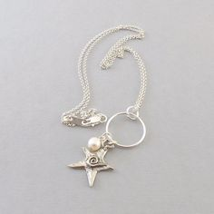 Sterling Silver Star Necklace  Oxidized by CinLynnBoutique on Etsy