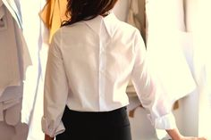 Business look in this white shirt buttoned on the back!do adorable and sexy Business Look, Poplin, That Look, Ruffle Blouse, Sexy, Shirts, Shopping, Clothes, Women