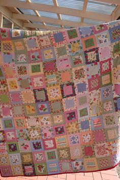By meliBismakingthings. Patchwork Quilt - fruit fabric    I bought this quilt in kit size from Patchwork on Central and loved making it so much I scored all the patchwork shops for more fabric and it just grew and grew.