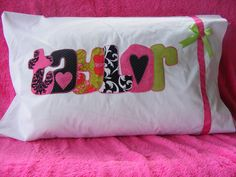 PERSONALIZED PILLOW CASE makes his or her bedding by TLStitches, $15.00