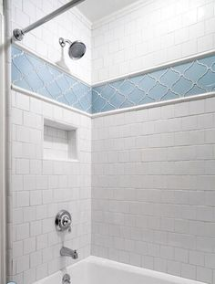 use Giorbello Random Mosaic in middle and blue glass subway tile on top