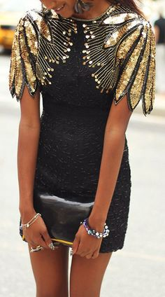 Black Mini Dress With Gold Embellished Winged Shoulders