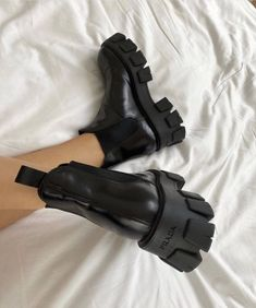 These Prada boots are 🔥 . 📸 Cass DiMicco These Prada boots are 🔥 . Sneakers Mode, Sneakers Fashion, All Black Sneakers, Fashion Shoes, Shoes Sneakers, Shoes Heels, Pumps, Prada Shoes, Fashion Fashion
