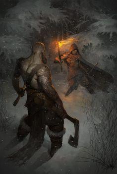 m Goliath Barbarian Dual Axe vs m Ranger Med Armor Cloak Torch Sword Night Hills winter snow Fight in the Forest by Stanislav Dikolenko lg Fantasy Warrior, Fantasy Rpg, Medieval Fantasy, Fantasy World, Dark Fantasy, Fantasy Male, Fantasy Artwork, Kratos God Of War, Images Gif