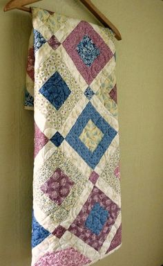 Victorian Baby Girl or Toddler Quilt - Soft Victorian Pink Blue Yellow - Traditional Classic Handmade Quilt -