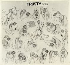 Lady and the Tramp Studio Model Sheet Group (Walt Disney, Group of seven Walt Disney Studio animator's - Available at 2015 April 9 - 10 Animation Art. Disney Dogs, Old Disney, Disney Art, Disney Sketches, Disney Drawings, Cartoon Drawings, Animal Sketches, Animal Drawings, Expression Sheet