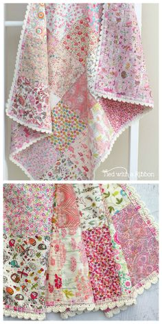 Crochet Trim Liberty Quilt, pattern by Tied with a Ribbon, how to crochet a trim on a quilt