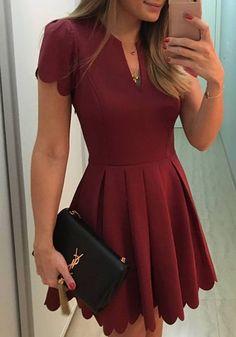 Wine Red Plain Pleated Wavy Edge V-neck Fashion Mini Dress