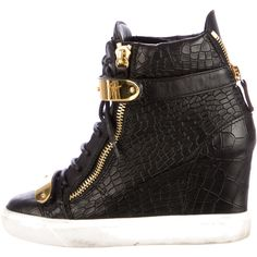 Pre-owned Giuseppe Zanotti Embossed Wedge Sneakers ($295) ❤ liked on Polyvore featuring shoes, sneakers, black, leather sneakers, giuseppe zanotti sneakers, wedged sneakers, black leather sneakers and velcro sneakers