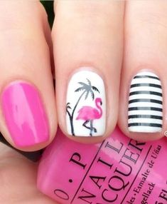 Flamingo Nail Decals/ Nail Stencils – The Best Nail Designs – Nail Polish Colors & Trends Flamingo Nails, Pink Flamingos, Cute Summer Nail Designs, Beachy Nail Designs, Tropical Nail Designs, Tropical Nail Art, Colorful Nail, Summer Design, Toe Nail Designs