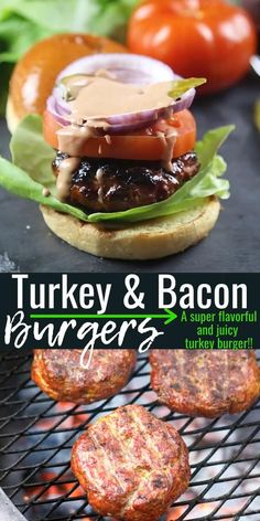 These are amazing turkey burgers made with bacon paste and grilled! The flavor of bacon is infused through your turkey burger, making it flavorful and juicy! Oven Turkey Burgers, Easy Turkey Burger Recipe, Lamb Burger Recipes, Ground Turkey Burgers, Grilled Turkey Burgers, Bacon Recipes, Turkey Recipes, Beef Burgers, Stuffed Turkey Burgers