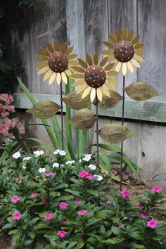 High Quality Trio Of Metal Sunflowers Hand Made Decorative Garden Art Stakes, Metal Lawn  Ornaments, Metal