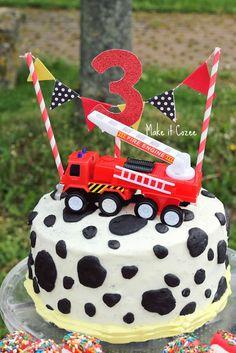 Firetruck party dalmatian cake