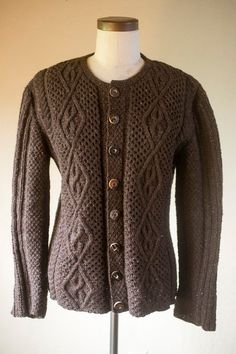 6a5c87965a90 Dark Brown German Cable Hand Knit Wool Cardigan Bone by thebestfit Wool  Cardigan
