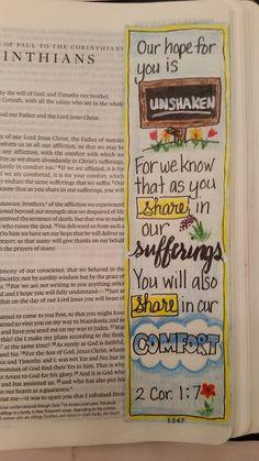 2 Corinthians 1:7 From Dianne Gottron's Bible.