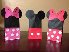 Mickey Mouse Minnie Mouse Disney Favor Treat by AZCustomCreations, $1.00 Favor Bags for Men and Woman to put on each bed when they arrive- Include personalized travel tag, sunscreen, medicine for motion sickness, treat