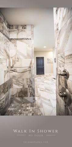 Here's a master bath walk in shower without a door, designed for a custom home built by Nordaas Homes. Designing and building homes across the Midwest. Modern Farmhouse Bathroom, Classic Bathroom, Farmhouse Design, Farmhouse Decor, Beach House Bedroom, Beach House Decor, Dream Shower, Walk In Shower Designs, Building A House