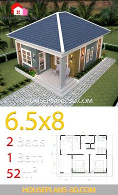 House Design Plans with 2 Bedrooms Hip Roof - House Plans Little House Plans, My House Plans, Modern House Plans, Small House Plans, House Floor Plans, Small House Interior Design, Simple House Design, Tiny House Design, Tyni House