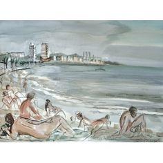 "Barcelona Art Market ""Beach of Barcelona""  Technique: WATERCOLOR on paper Artist: BENJAMÍ TOUS Size of set: 46 x 61 cm / 18.1 x 24 inches #painting"