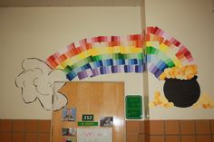 Rainbow made out of paint chips for St. Patrick's Day door decoration