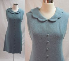 60s Icy Blue Wool Dress / Sleeveless Dress / by livinvintageshop, $58.00