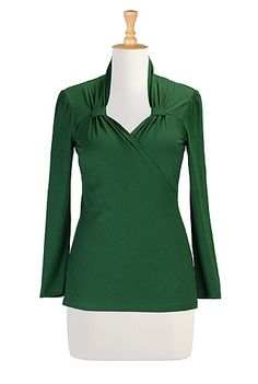 Vintage style knit top from Eshakti.  Cotton jersey knit with pleated surplice neckline, looped below the shoulders.