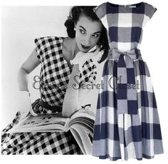 LAURA ASHLEY Vintage Inspired 50s Gingham Check Rockabilly Pin Up Dress 16