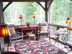 Lake Glenville lodge rental - Screened Reading Porch for late evenings.