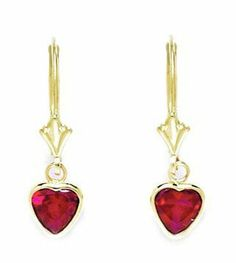 14k Yellow Gold July Birthstone Ruby CZ Large Heart Drop Leverback Earrings - Measures 24x7mm JewelryWeb. $101.30