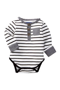 Striped Henley Bodysuit (Baby Boys) by Beetle Thread on HauteLook Baby Outfits, Outfits Niños, Kids Outfits, Baby Boy Fashion, Kids Fashion, Latest Fashion, Winter Fashion, Baby Kids Clothes, Fashion Moda