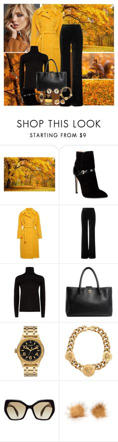 """""""The Yellow Coat"""" by dezaval ❤ liked on Polyvore featuring WALL, Anja, Emilio Pucci, Rochas, MaxMara, Chanel, Nixon, Versace, Prada and Burberry"""