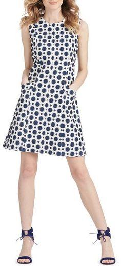 Donna Morgan Polka Dot Jacquard Fit & Flare Dress