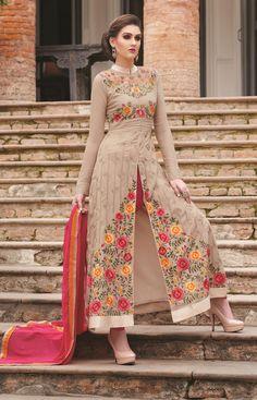 Beige Georgette Designer Anarkali Suit 66188