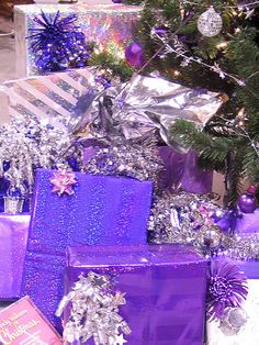 ♥ Purple  & silver Christmas presents ~  ♥ love these colors