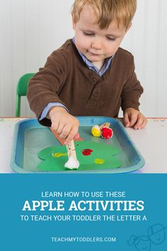Learn how to use these a is for apples activities to teach your toddlers the letter A! #toddlers #toddleractivities #2yearold #crafts #activitiesathome #kids #craftsforkids #numbers #teachnumbers #childlearning #letters #parenting #kids #colors #shapes #teachideas #teach #preschoolers